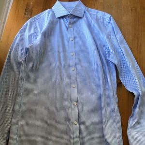 Charles Trywitt Dress light blue check 15.5/35